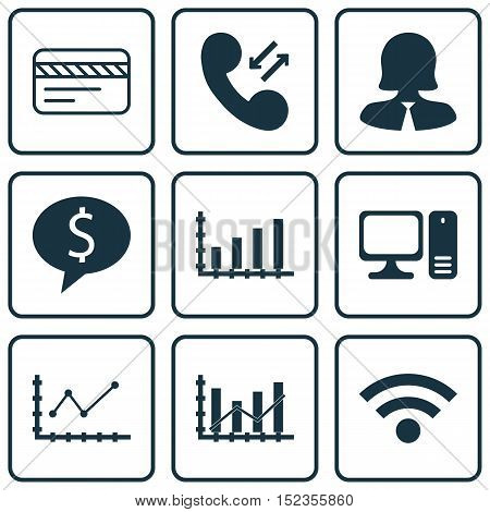 Set Of 9 Universal Editable Icons For Travel, Statistics And Human Resources Topics. Includes Icons