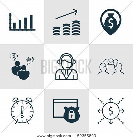 Set Of 9 Universal Editable Icons For Project Management, Business Management And Airport Topics. In
