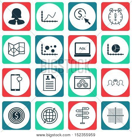 Set Of 16 Universal Editable Icons For Advertising, Human Resources And Statistics Topics. Includes