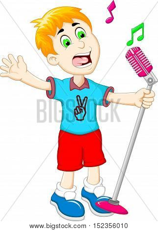 funny little boy cartoon singing for you design