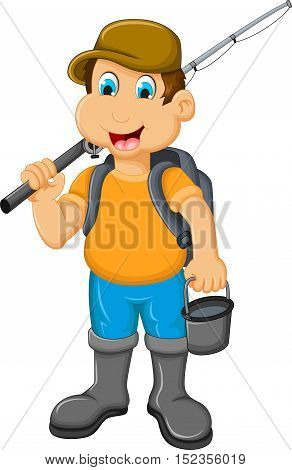 funny Little boy fishing for you design