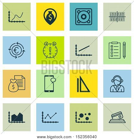 Set Of 16 Universal Editable Icons For Statistics, Airport And Computer Hardware Topics. Includes Ic