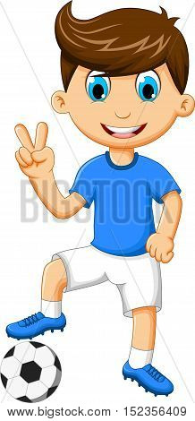 funny boy cartoon peace experssion with football