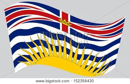 Canadian provincial BC patriotic element and official symbol. Canada banner and background. Flag of the Canadian province of British Columbia waving on gray background vector