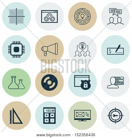 Set Of 16 Universal Editable Icons For Business Management, Human Resources And Advertising Topics.