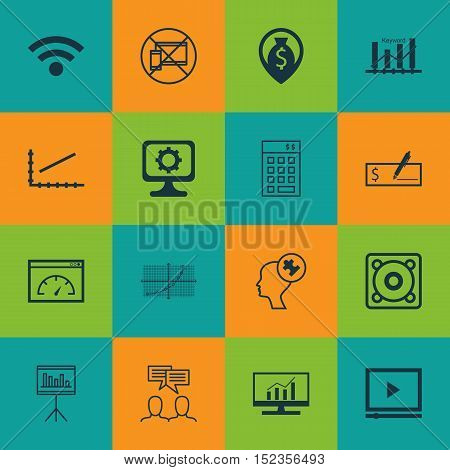 Set Of 16 Universal Editable Icons For Advertising, Statistics And Airport Topics. Includes Icons Su