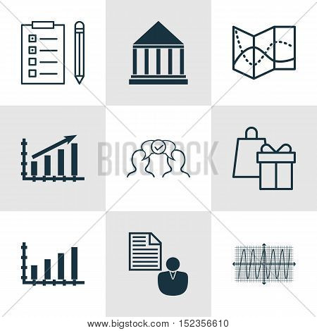 Set Of 9 Universal Editable Icons For Project Management, Airport And Marketing Topics. Includes Ico