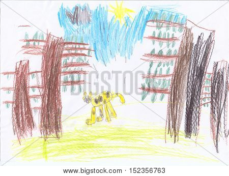 Child's drawing of a wild leopard in jungle