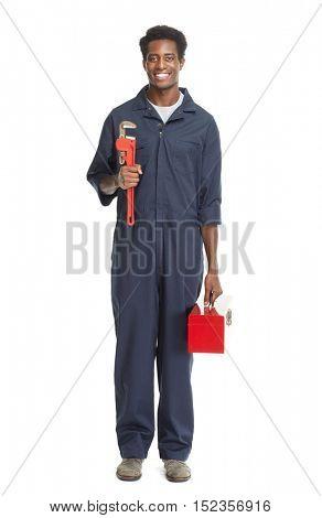 African American Plumber.