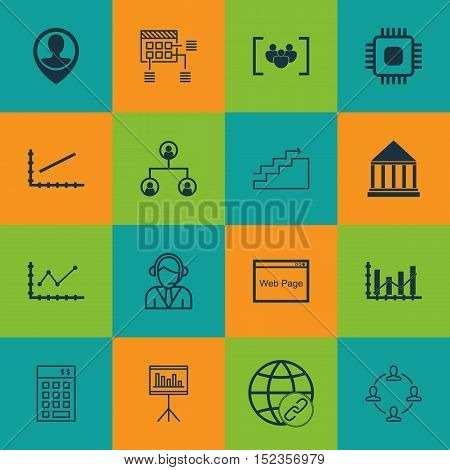 Set Of 16 Universal Editable Icons For Computer Hardware, Statistics And Seo Topics. Includes Icons