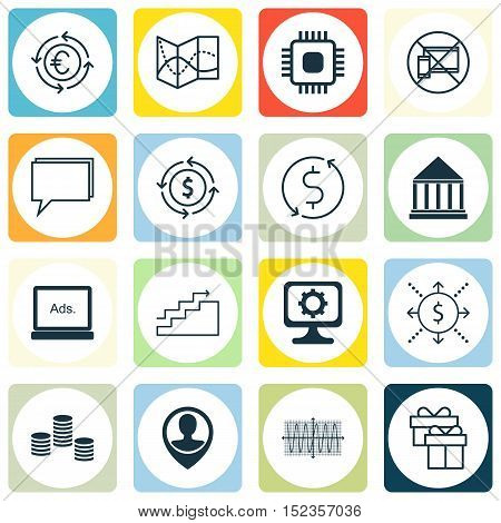 Set Of 16 Universal Editable Icons For Project Management, Advertising And Computer Hardware Topics.
