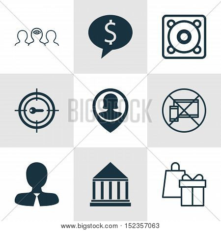 Set Of 9 Universal Editable Icons For Human Resources, Business Management And Airport Topics. Inclu