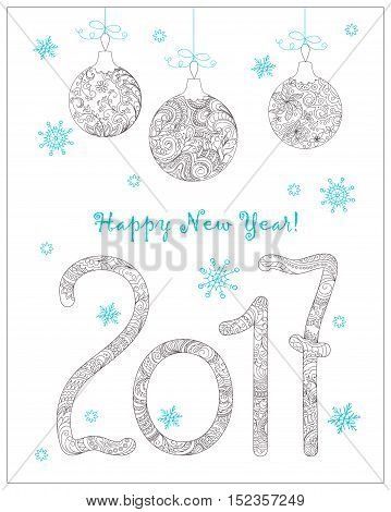 Festive card with Christmas balls numerics 2017 decorated hand drawn zen tangled flowers snowflake isolated on the white and text Happy New Year. Image can be used for adult coloring book. eps 10