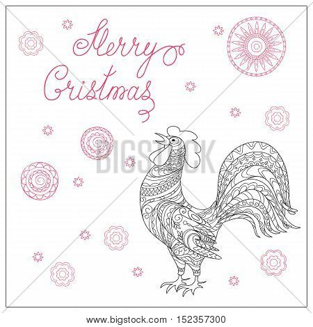 Festive Christmas card with hand drawn calligraphical text Merry Christmas decorated rooster symbol of 2017 mandalas isolated on the white. Image can be used for adult coloring book. eps 10