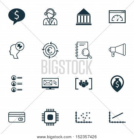Set Of 16 Universal Editable Icons For Advertising, Computer Hardware And Project Management Topics.