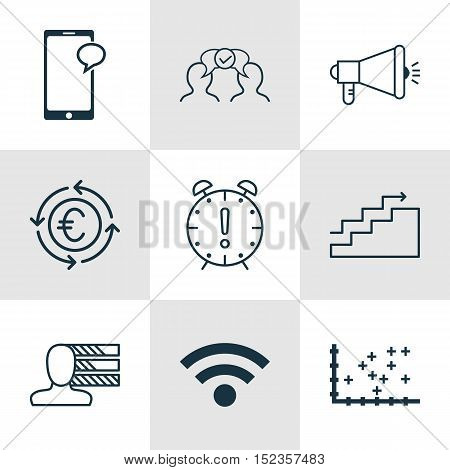 Set Of 9 Universal Editable Icons For Human Resources, Advertising And Computer Hardware Topics. Inc
