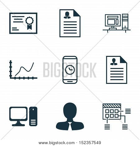 Set Of 9 Universal Editable Icons For Human Resources, Computer Hardware And Airport Topics. Include