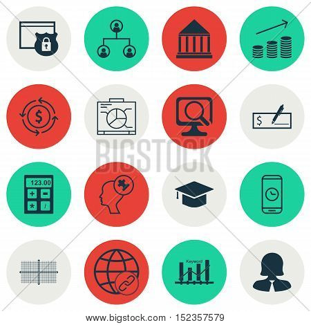 Set Of 16 Universal Editable Icons For Project Management, Advertising And Statistics Topics. Includ
