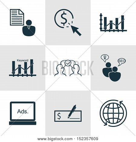 Set Of 9 Universal Editable Icons For Business Management, Statistics And Human Resources Topics. In