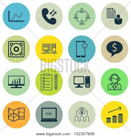 Set Of 16 Universal Editable Icons For Airport, Human Resources And Marketing Topics. Includes Icons