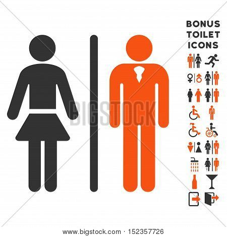 Toilet Persons icon and bonus gentleman and female lavatory symbols. Vector illustration style is flat iconic bicolor symbols, orange and gray colors, white background.