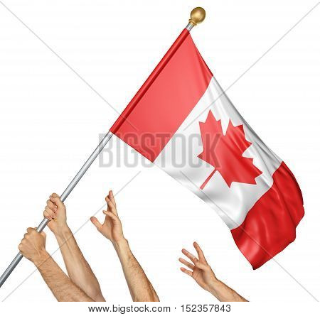 Team of peoples hands raising the Canada national flag, 3D rendering isolated on white background