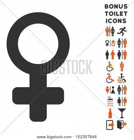 Venus Symbol icon and bonus man and female restroom symbols. Vector illustration style is flat iconic bicolor symbols, orange and gray colors, white background.