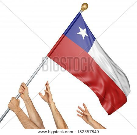 Team of peoples hands raising the Chile national flag, 3D rendering isolated on white background
