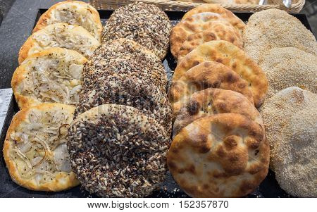 Tradition Arabic Bread - Pita With Onions, Sesame And Sunflower Seeds