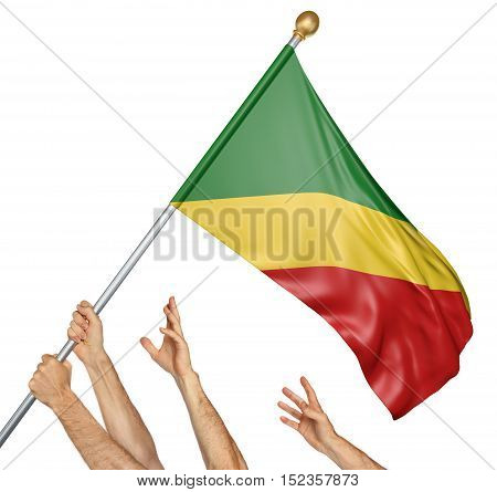 Team of peoples hands raising the Congo Republic national flag, 3D rendering isolated on white background