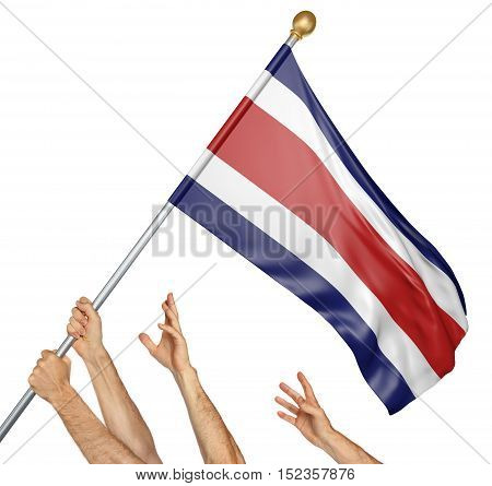 Team of peoples hands raising the Costa Rica national flag, 3D rendering isolated on white background