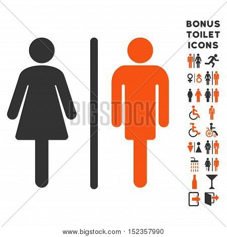 WC Persons icon and bonus male and lady restroom symbols. Vector illustration style is flat iconic bicolor symbols, orange and gray colors, white background.