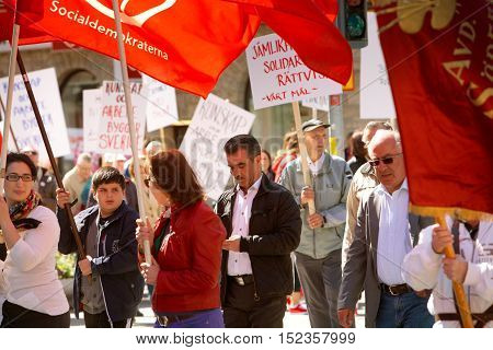 Sodertalje, Sweden - May 1, 2012: The Social Democrats' May Day traditional protest march.