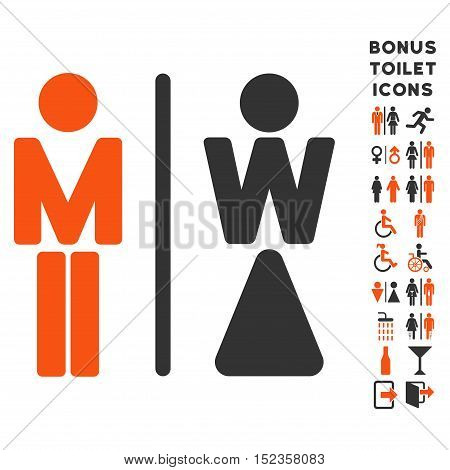 WC Persons icon and bonus gentleman and lady WC symbols. Vector illustration style is flat iconic bicolor symbols, orange and gray colors, white background.