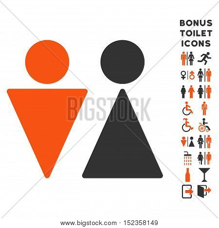 WC Persons icon and bonus gentleman and female restroom symbols. Vector illustration style is flat iconic bicolor symbols, orange and gray colors, white background.