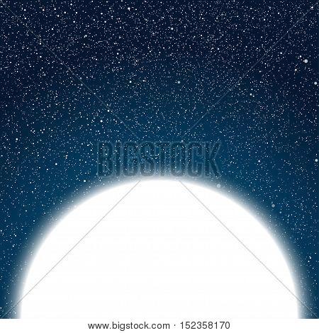 Vector white round frame. Stars on the dark blue sky. Starry night sky.