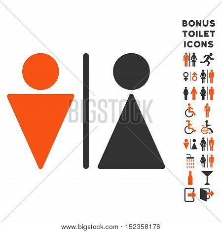 WC Persons icon and bonus gentleman and lady restroom symbols. Vector illustration style is flat iconic bicolor symbols, orange and gray colors, white background.