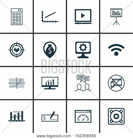 Set Of 16 Universal Editable Icons For Advertising, Airport And Computer Hardware Topics. Includes I