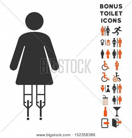 Woman Crutches icon and bonus male and female restroom symbols. Vector illustration style is flat iconic bicolor symbols, orange and gray colors, white background.