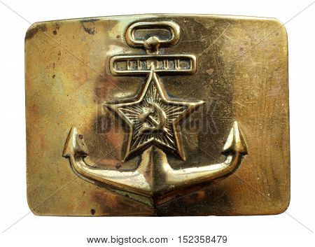 Close up Russian military navy buckle of belt