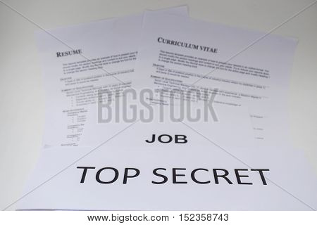 business concept of job interviewing is confidential