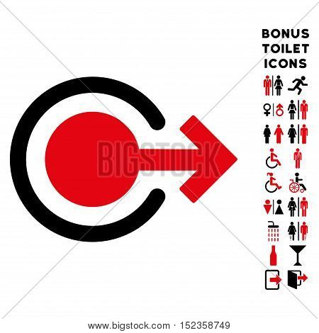 Logout icon and bonus gentleman and woman WC symbols. Vector illustration style is flat iconic bicolor symbols, intensive red and black colors, white background.