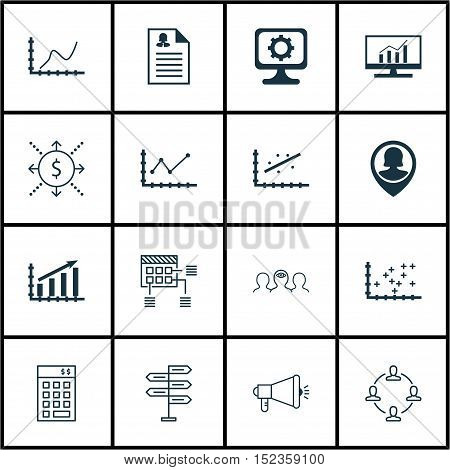 Set Of 16 Universal Editable Icons For Business Management, Human Resources And Seo Topics. Includes