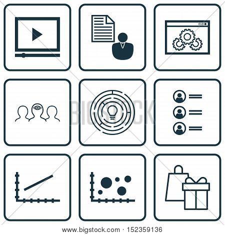 Set Of 9 Universal Editable Icons For Project Management, Advertising And Marketing Topics. Includes