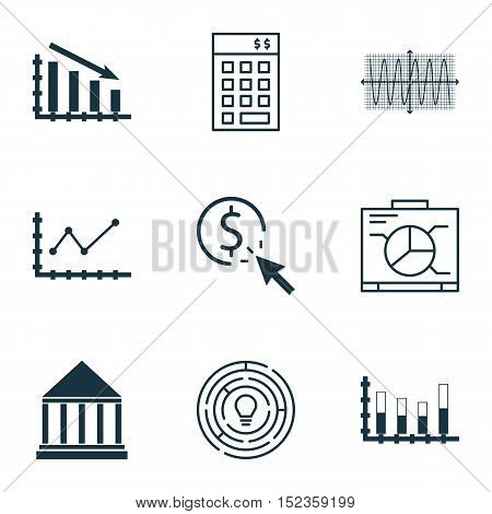 Set Of 9 Universal Editable Icons For Project Management, Statistics And Seo Topics. Includes Icons