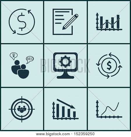 Set Of 9 Universal Editable Icons For Advertising, Statistics And Computer Hardware Topics. Includes