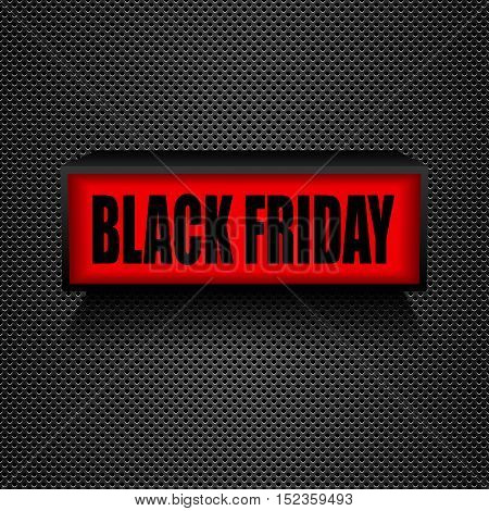 Black friday. Warning board message is lit on Sales and discounts.
