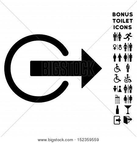 Logout icon and bonus gentleman and female WC symbols. Vector illustration style is flat iconic symbols, black color, white background.