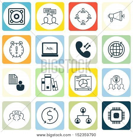 Set Of 16 Universal Editable Icons For Human Resources, Project Management And Marketing Topics. Inc