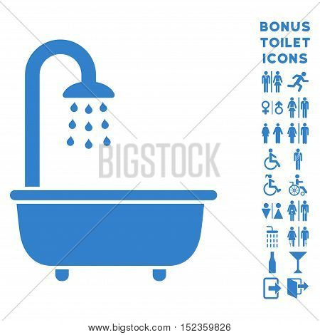 Bath Shower icon and bonus man and woman restroom symbols. Vector illustration style is flat iconic symbols, cobalt color, white background.